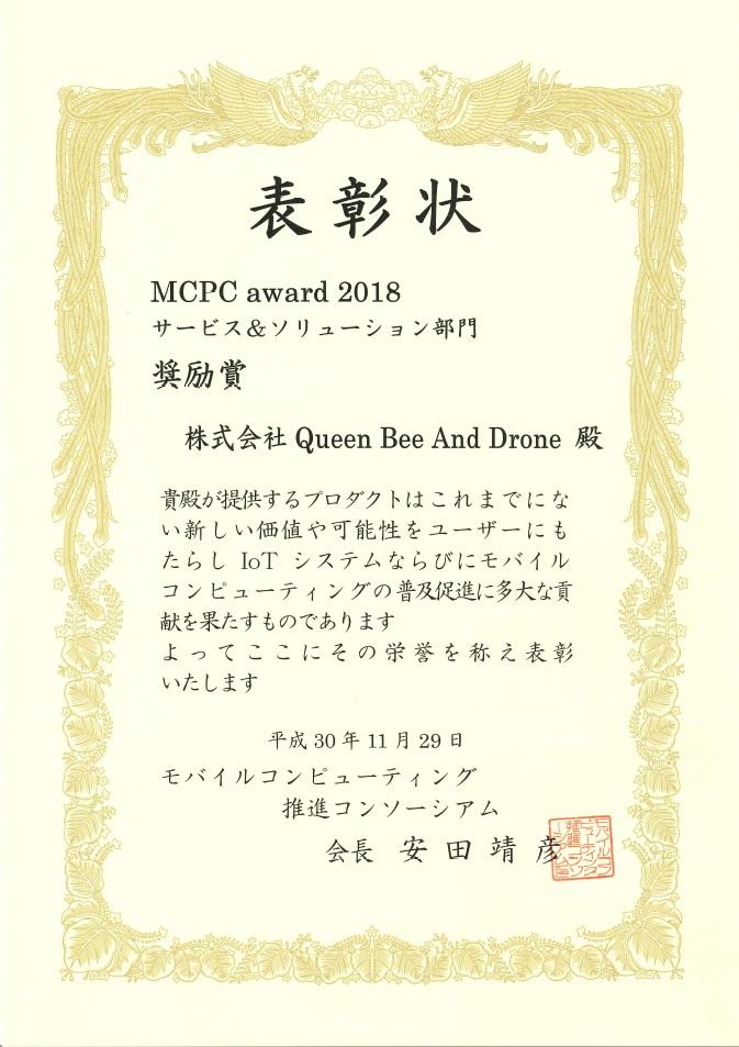MCPC award 2018 表彰状